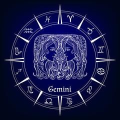 decorative patterned zodiac sign Gemeni