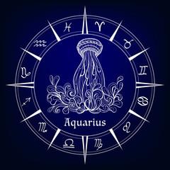 decorative patterned zodiac sign Aguarius