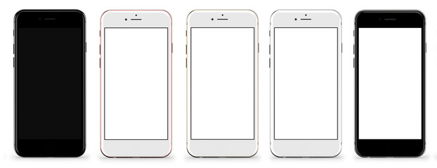 Set of five smartphones gold, rose, silver, black and black polished - blank screen and isolated on white background. Template, mockup.