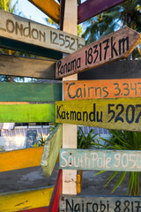 Directional wooden signs to different famous destination of the