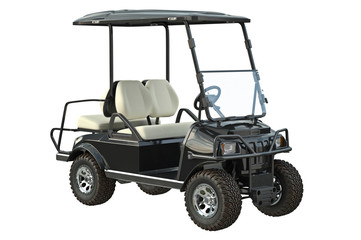 Golf car electric black transport. 3D graphic