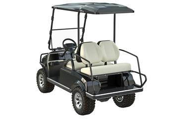 Golf car black auto vehicle. 3D graphic