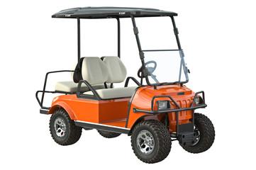 Golf car electric orange transport. 3D graphic