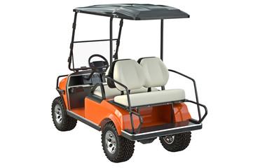 Golf car orange auto vehicle. 3D graphic
