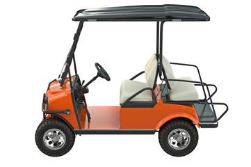 Golf car orange transport, side view. 3D graphic