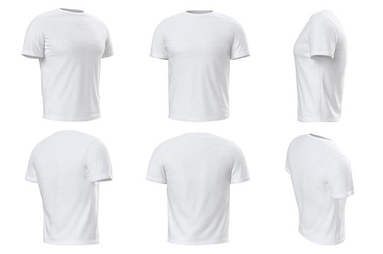 Tshirt mens white wear casual male design set collection. 3D graphic
