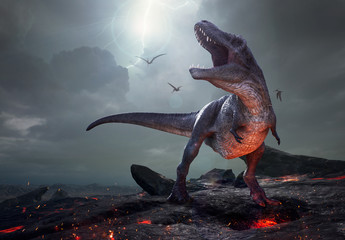 3D rendering of Tyrannosaurus Rex near extinction. Wall mural