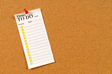 To do list pinned to cork bulletin board