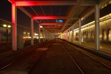 Train tracks in architecture interior