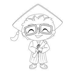 Outlined Kid Boy wearing Graduation Suit