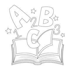 Outlined ABC and 123 on Open Book