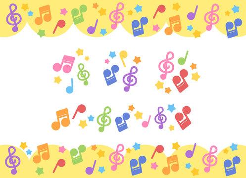 カラフルな音符モチーフ コピースペース・アイコン・ラインのセット ベクター素材