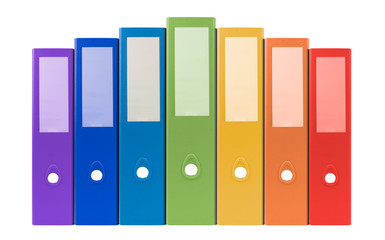 colorful ring binders-full with office document and business inf