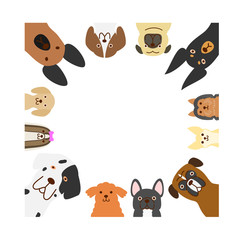 big and small dogs square frame