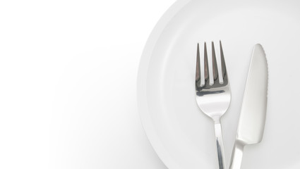 plate with fork and knife isolated