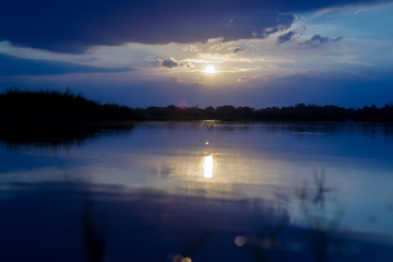 Natural scenery, beautiful sky, river.Sunset over the forest lake.