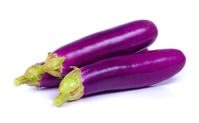 Long Purple Aubergine or Eggplant (Solanum melongena) isolated o