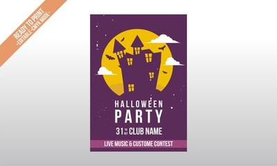 haunted house dark purple flyer halloween template vector