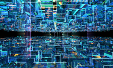 Abstract Futuristic Background. 3D illustration Wall mural