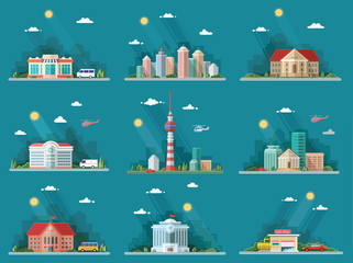 Mega Set of icons for your design. School, Town Hall, the univer