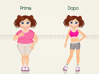 girl before and after diet