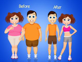 man and woman before and after diet