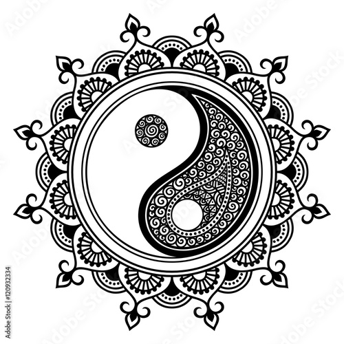 A Circular Pattern In The Form Of A Mandala Yin Yang Decorative