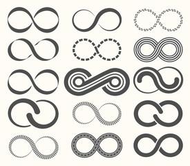 Infinity symbol set,15 signs of eternity.