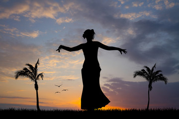 Hawaiian woman dancing in the sun