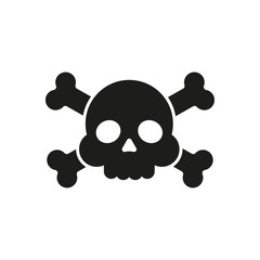 """Skull and crossbones flat icon. Skull and crossbones isolated on white background. Pirates flag """"Jolly Roger"""" - skull and crossbones"""