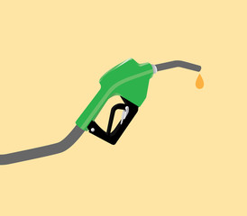 fuel pump with drop gasoline with yellow background