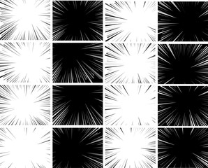 Comic book explosion superhero pop art style radial lines background. Manga or anime speed frame