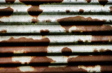 Rusty wave metal panel.