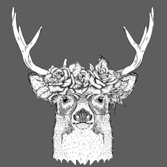 Hand draw portrait of deer wearing a wreath of flowers. Vector illustration