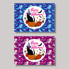 """Halloween greeting card. Black cat in witch hat, pumpkin and hand drawn text """"Happy Halloween!"""". Vector clip art."""