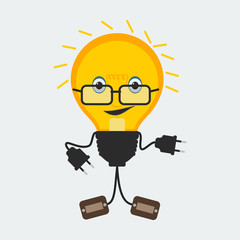 Light Bulb Character | Editable vector character of a light bulb with glasses