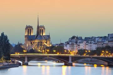 Poster Paris church Notre Dame de paris at night, Paris, France