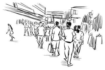 people in urban scene