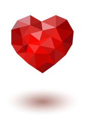 Красное полигональное сердце. Вектор.