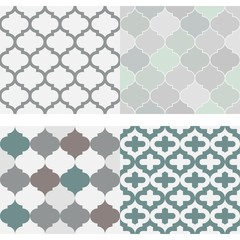 Set of seamless moroccan tile pattern vector