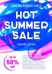 Hot summer sale banner template offer flyer background
