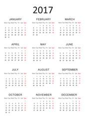 Simple Calendar for 2017 - Vector EPS10