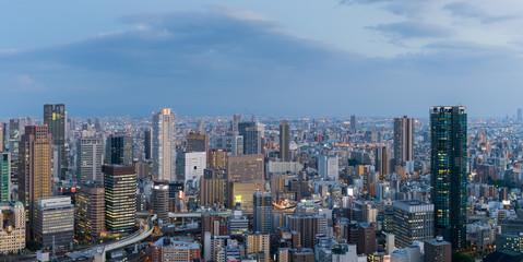 Osaka city view , High building and expressway in Osaka at night