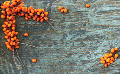 Sea buckthorn branches with orange berries on a wooden background. Autumn background with orange berry fruits on a wooden board. Top view.
