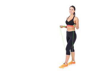 Girl with bright green jumping rope