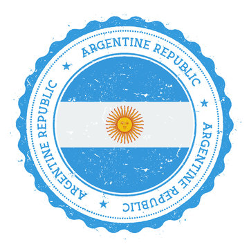 Grunge rubber stamp with Argentina flag. Vintage travel stamp with circular text, stars and national flag inside it. Vector illustration.