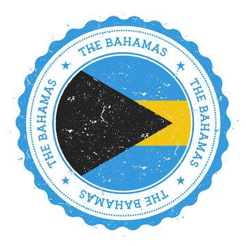 Grunge rubber stamp with Bahamas flag. Vintage travel stamp with circular text, stars and national flag inside it. Vector illustration.
