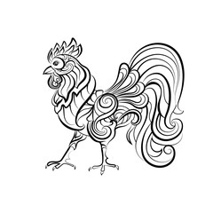 Decorative cock. Design for tattoo. Hand drawn sketch for adult anti stress coloring page.