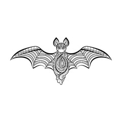 Decorative bat.  Hand drawn sketch for adult anti stress coloring page.