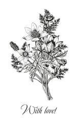 Цветы. Векторная винтажная открытка. Гравюра. Ботаника.